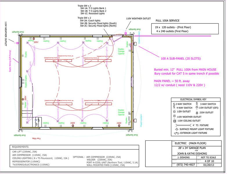 """john's garage journal """" x """" brick garage w/ car lift  page, wiring diagram"""